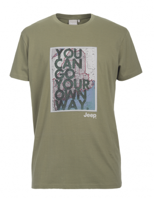 "MAN T-SHIRT ""You can go your own way"" J6S Gr. XL dusky green"