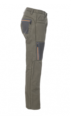 MAN TROUSERS W/ ZIPPED MESH POCKETS Gr.50 Dusky Green
